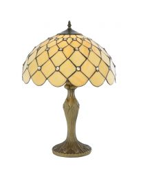 Tiffany Jewel 16 Inch Table Lamp With Honey Shade and Antique Brass base