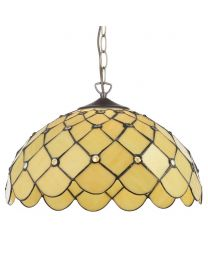 Tiffany Jewel 16 Inch Ceiling Pendant with Shade - Honey