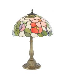 Tiffany Floral 16 Inch Table Lamp with Multi Coloured Shade with Antique Brass Base