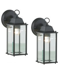 2 Pack of Colone Outdoor Lantern Bevelled Glass Wall Light Lantern - Black