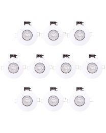 Pack of 10 Fire Rated IP20 Fixed Downlighter with LED Bulbs - White