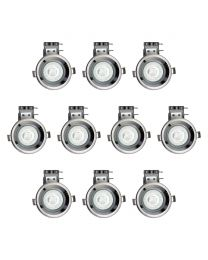 Pack of 10 Fire Rated IP20 Fixed Downlighter with LED Bulbs - Black Chrome