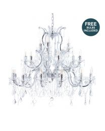 Marie Therese 21 Light Dual Mount Chandelier with LED Bulbs - Chrome