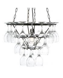 Wine Glass Chandelier - 3 Tier - Black