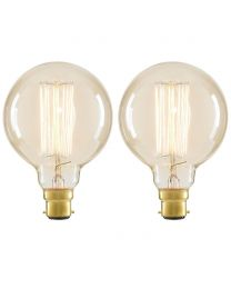 2 Pack of Cage 40 Watt Vintage Globe B22 Bayonet Cap Light Bulb - Clear