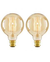 2 Pack of Cage 40 Watt Vintage Globe B22 Bayonet Cap Light Bulb - Gold Tinted