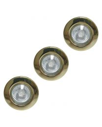 3 Pack of Circular Recessed Downlights - Polished Brass