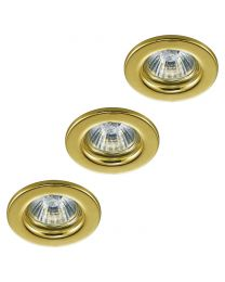3 Pack of Circular Recessed Downlights, Brass