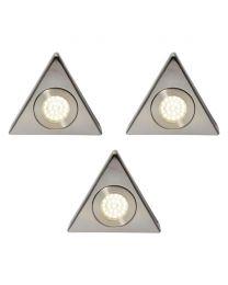 Pack of 3 Scott Triangular Cool White LED Under Kitchen Cabinet Light - Satin Nickel