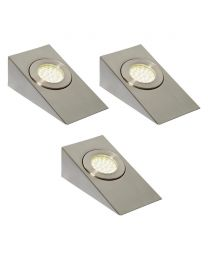 Pack of 3 Lago LED Wedge Cabinet Light in Satin Nickel