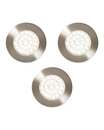 Pack of 3 Charles Circular Daylight LED Under Kitchen Cabinet Light - Satin Nickel