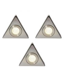 Pack of 3 Scott Triangular Day Light LED Under Kitchen Cabinet Light - Satin Nickel