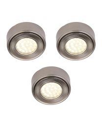 Pack of 3 Circular LED Under Cabinet Light Warm White - Satin Nickel
