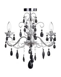 Vara 3 Light Bathroom Chandelier with Black Crystals - Chrome