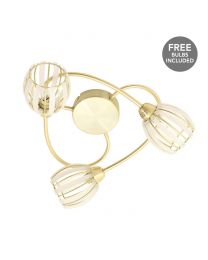 Stripe 3 Arm Semi Flush Ceiling Light With Free Bulbs - Brushed Gold