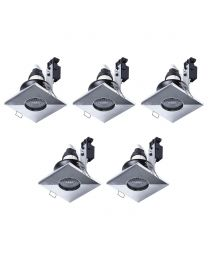 5 Pack of IP65 Rated GU10 Fixed Position Square Downlighter - Chrome