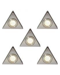 Pack of 5 Scott Triangular Cool White LED Under Kitchen Cabinet Light - Satin Nickel