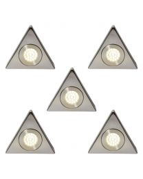 Pack of 5 Scott Triangular Day Light LED Under Kitchen Cabinet Light - Satin Nickel