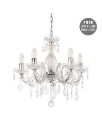 Marie Therese 5 Light Dual Mount Chandelier - Chrome with Free LED Bulbs
