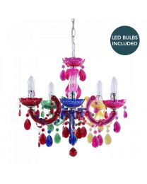 AS-C6-LC1997-LED MARIE THERESE 5 LIGHT DUAL MOUNT CHANDELIER MULTI COLOUR