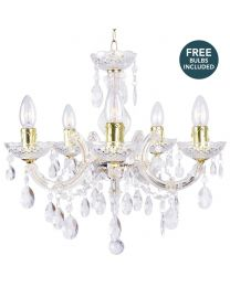 Marie Therese 5 Light Dual Mount Chandelier - Gold with LED Bulbs
