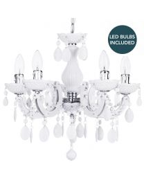 Marie Therese 5 Light Dual Mount Chandelier - White with LED Bulbs