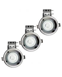 Pack of 3 Fire Rated IP20 Fixed Downlighter with LED Bulbs - Black Chrome