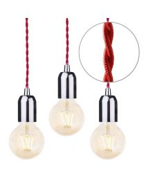 3 Pack of Red Braided Cable Kit with Gold Tint 4 Watt LED Filament Globe Light Bulb - Nickel