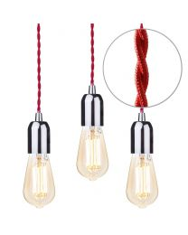 3 Pack of Red Braided Cable Kit with Gold Tint 6 Watt LED Filament Teardrop Light Bulb - Nickel