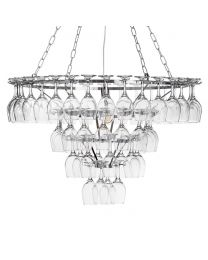 4 Tier 60 Wine Glass Chandelier - Chrome