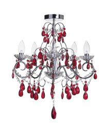 Vara 5 Light Bathroom Chandelier with Red Crystals - Chrome