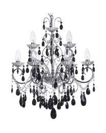 Vara 9 Light Bathroom Chandelier with Black Crystals - Chrome