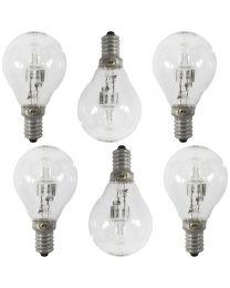6 Pack of 28 Watt E14 Small Edison Screw Golf Ball Light Bulbs - Clear