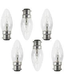 6 Pack of 28 Watt B22 Bayonet Cap Candle Light Bulbs - Clear