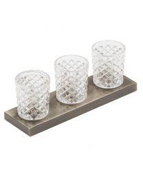 Aston 3 Light Whisky Glass Table Light - Gold