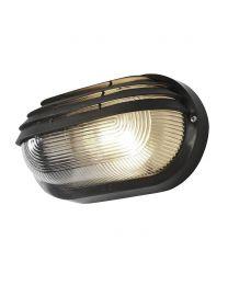Anders Oval Outdoor Bulkhead Eyelid Wall Light - Black