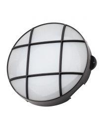 Vega 15 Watt LED Round Grid Outdoor Bulkhead Light - Black