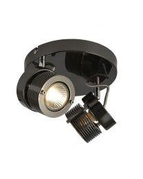 2 Light Cylinder Ceiling Spotlight Plate - Black