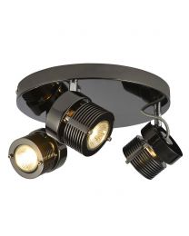 3 Light Telford Cylinder Ceiling Spotlight Plate - Black
