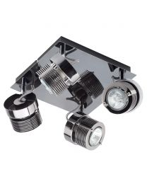 4 Light Telford Cylinder Ceiling Square Spotlight Plate - Black