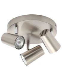 Harvey Industrial Style Ceiling Spotlight Bar with 3 Adjustable Heads - Satin Nickel