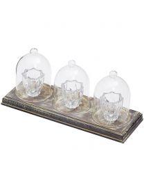 3 Light Tealight Table Lamp Bar - Wood & Glass