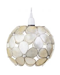 Floral Style Capiz Ball Easy to Fit Ceiling Shade - Champagne