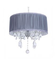 L'amour 4 Light Chandelier in Pleated Shade - Grey