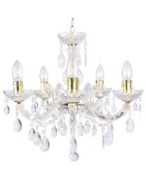 Marie Therese 5 Light Dual Mount Chandelier - Gold