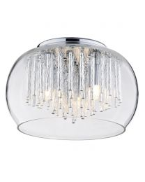 3 Light Glass Flush Ceiling Bowl Shade with Aluminium Rods - Chrome