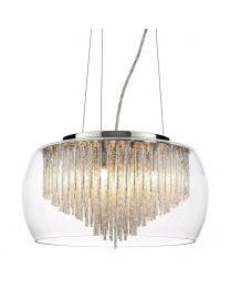 5 Light Ceiling Pendant Bowl Shade with Aluminium Rods - Chrome & Glass
