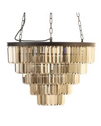 Ingot 10 Light Crystal Prism Bar Ceiling Pendant - Rust