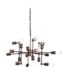 Steamer 18 Light Industrial Pipe Style Ceiling Pendant - Rust