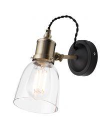 Industrial 1 Light Diner Style Wall Light - Brass